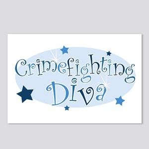 """""""Crimefighting Diva"""" [blue] Postcards (Package of"""